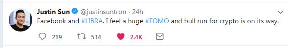 توئیت جاستین سان در رابطه با لیبرا