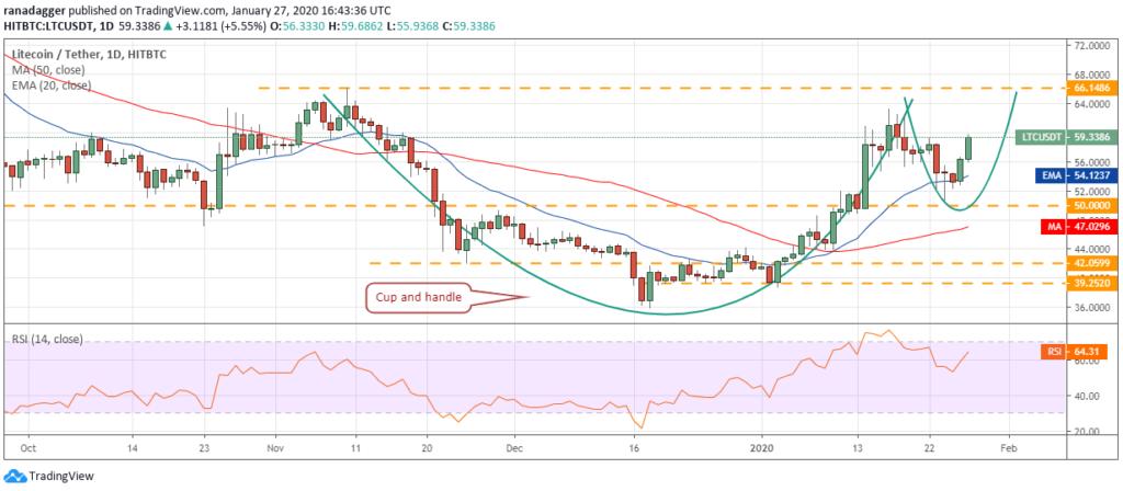 تحلیل تکنیکال هفتگی قیمت لایت کوین ۲۸ ژانویه (۸ بهمن)