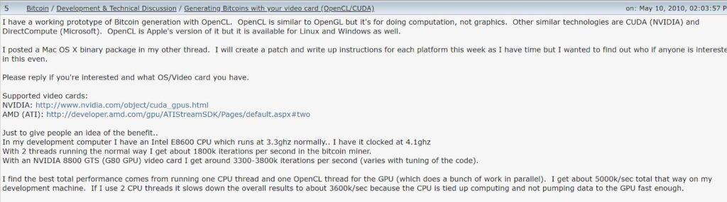 پست هانیک در سایت بیت کوین تاک (Bitcointalk) در توضیح استخراج با کارت گرافیک منبع: Bitcointalk.org